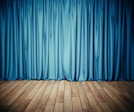 Bühne mit blauem Vorhang und Holzboden. Kunst- und Unterhaltungskonzept. Mock-up, 3D-Rendering