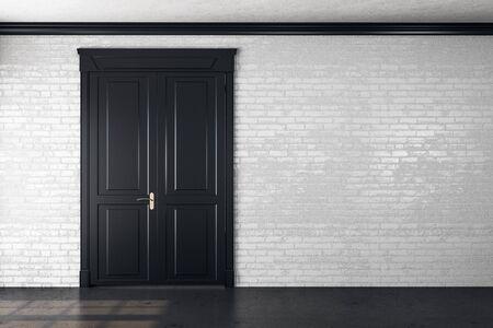 Wooden door in empty room with copy space on brick wall. 3D Rendering