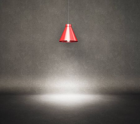 Vintage style hanged ceiling lamp with dark dirty concrete wall on background, 3D Rendering 写真素材