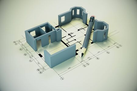 Blueprint, pencil and house model on yellow table.  Real estate and architecture concept. 3D Rendering