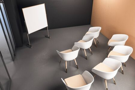 Presentation room with blank banner and chairs. Presentation concept. Mock Up. 3D Rendering