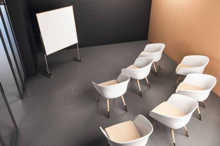 Sala de presentación con pancarta en blanco y sillas. Concepto de presentación. Bosquejo. Representación 3D