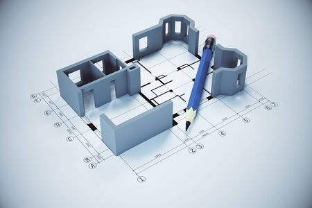 Blueprint, pencil and house model on gray table.  Real estate and architecture concept. 3D Rendering