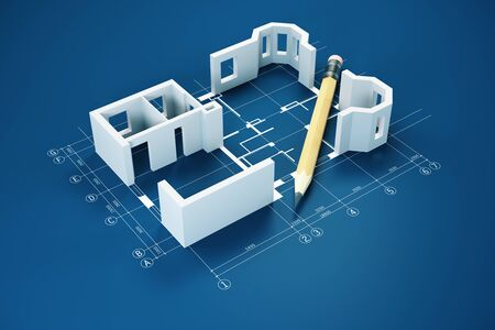 Blueprint, pencil and house model on blue table.  Real estate and architecture concept. 3D Rendering