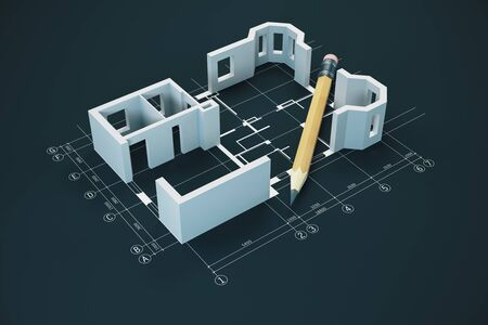 Blueprint, pencil and house model on table.  Real estate and architecture concept. 3D Rendering