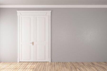 White door in empty room with copy space on brick wall. 3D Rendering