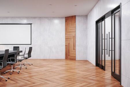 Cozy meeting office interior with blank screen for projector on wall. Workplace and lifestyle concept. 3D Rendering Stockfoto