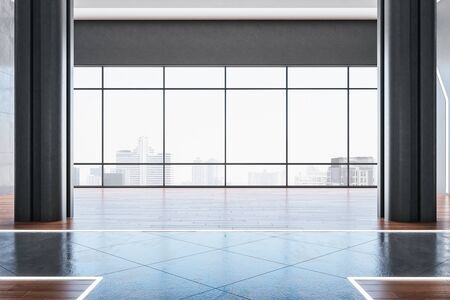 Empty hall interior with panoramic city view and sunlight on concrete floor. 3D Rendering Stockfoto