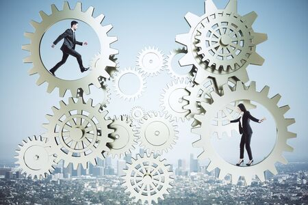 Businessman and businesswoman walking in golden gears system on city background. Business and teamwork concept. Archivio Fotografico