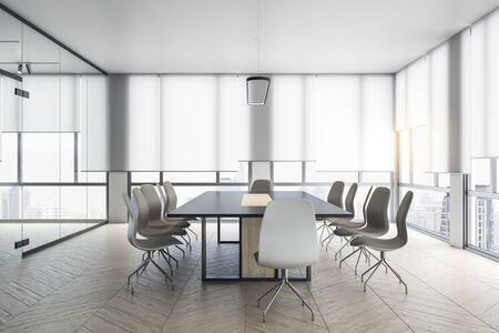 Meeting room interior with big window and city view. Business and teamwork concept. 3D Rendering 版權商用圖片