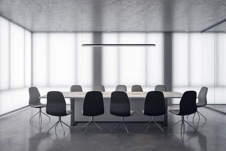 Clean meeting room interior with city view and daylight. 3D Rendering 版權商用圖片