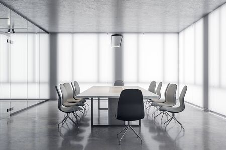 White meeting room interior with city view and daylight. 3D Rendering