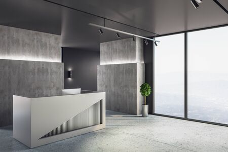 Minimalistic reception desk in lobby interior with megapolis city view. Workplace and corporate concept. 3D Rendering