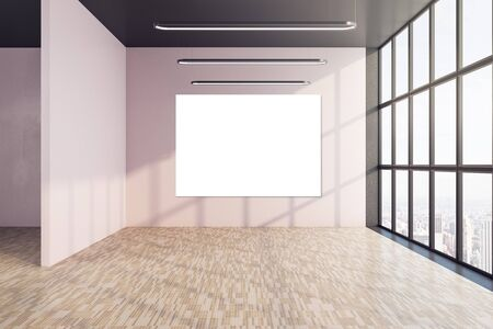 Contemporary interior with window and blank poster on wall. Presentation concept. Mock up, 3D Rendering Zdjęcie Seryjne
