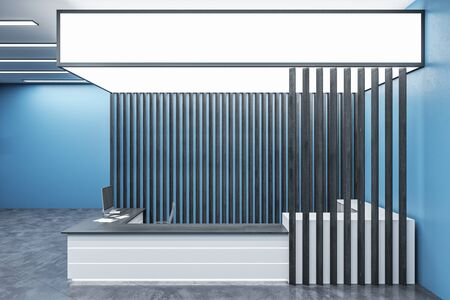Modern blue office lobby interior with reception desk and copy space on wall. Mock up, 3D Rendering