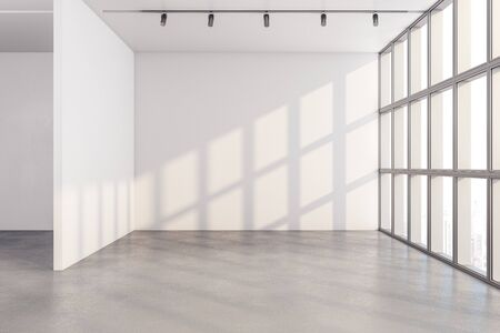 Modern interior with window and copy space on white wall. Mock up, 3D Rendering Zdjęcie Seryjne