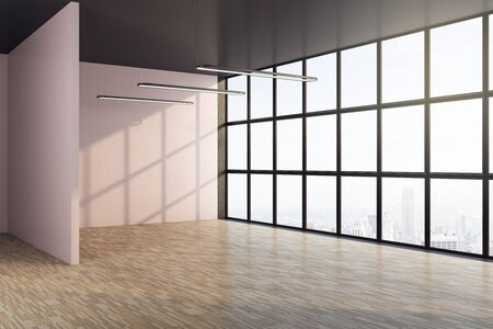 Clean interior room with window and blank wall. Art and design concept. Mock up, 3D Rendering Zdjęcie Seryjne