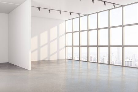Minimalistic interior with window and copy space on white wall and megapolis city view. Mock up, 3D Rendering