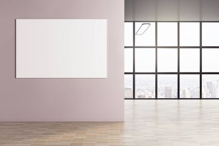 Minimalistic interior blank banner on wall. Presentation concept. Mock up, 3D Rendering