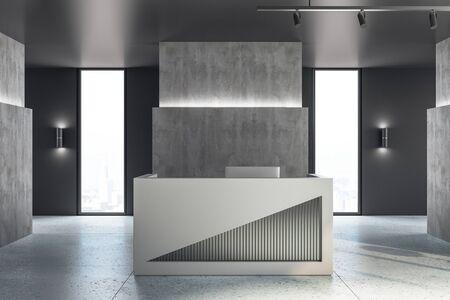 Modern reception desk in lobby interior with wooden floor. 3D Rendering