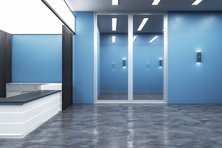 Modern blue office lobby interior with reception desk. Workplace and lifestyle concept. Mock up, 3D Rendering