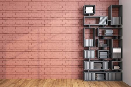 Contemporary loft library with bookcase and blank red brick wall. Business and education concept, 3D rendering