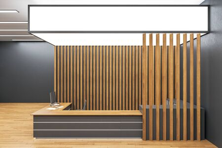 Front view of modern reception desk in lobby interior with wooden wall and floor. 3D Rendering