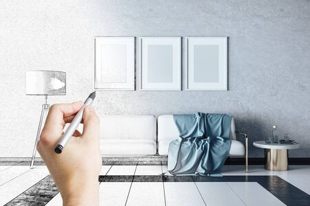 Hand drawing living room with sofa, lamp and three blank banner on wall. Design and style concept.