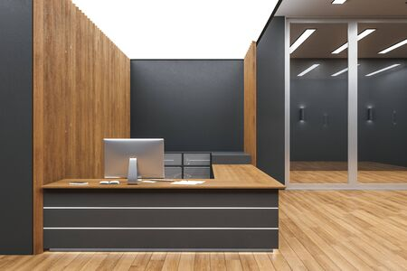 Contemporary reception desk in lobby interior with wooden wall and floor. 3D Rendering 스톡 콘텐츠