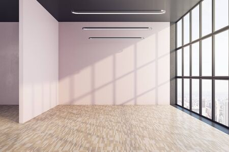 Contemporary interior with window and copy space on wall. Art and design concept. Mock up, 3D Rendering Zdjęcie Seryjne
