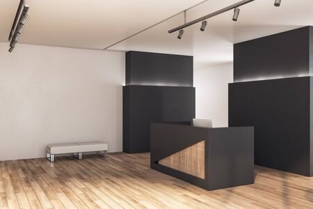 Modern reception desk in lobby interior with blank wall and wooden wall. 3D Rendering 스톡 콘텐츠