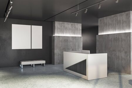Reception desk in lobby interior with two blank banner on concrete wall. Workplace and corporate concept. 3D Rendering