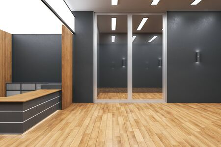 Modern wooden office lobby interior with reception desk. Workplace and lifestyle concept. Mock up, 3D Rendering