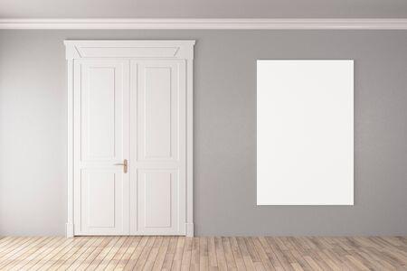 Wooden door in empty room with blank banner on gray wall. Presentation concept. 3D Rendering