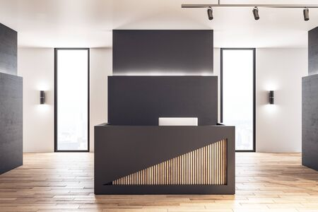 Contemporary reception desk in lobby interior with wooden floor. 3D Rendering 스톡 콘텐츠