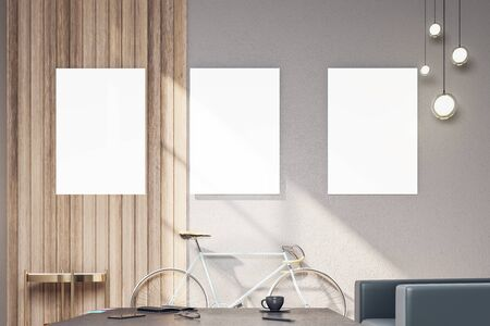 Minimalistic hipster interior with bicycle and three empty poster on wall. Presentation concept. 3D Rendering Zdjęcie Seryjne