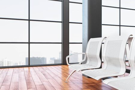 Luxury airport waiting room with metal chair and city view. Lounge and travel concept. Close up. 3D Rendering