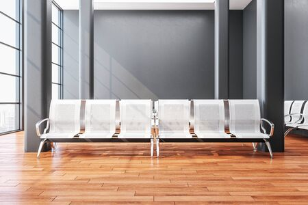 Contemporary airport waiting room with chair and blank gray wall. Lounge and travel concept. Close up. 3D Rendering
