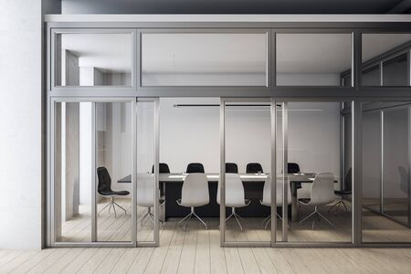 Modern meeting room interior with blank white wall.  Workplace and corporate concept. 3D Rendering