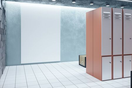 Locker room interior with blank billboard on wall. School and sports concept. 3D Rendering