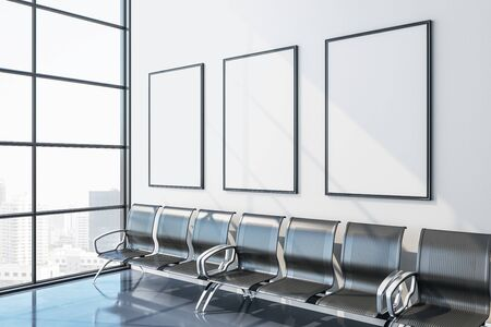 Modern airport waiting room with chair, three blank banner and city view. Lounge and travel concept. Close up. 3D Rendering