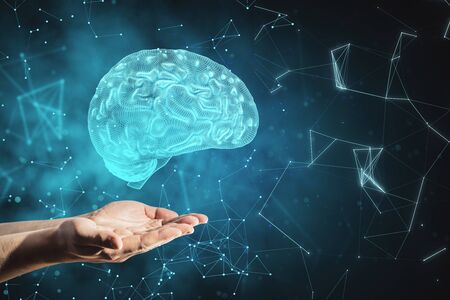 Hands holding glowing brain on blurry background. Artificial intelligence concept. 3D Rendering