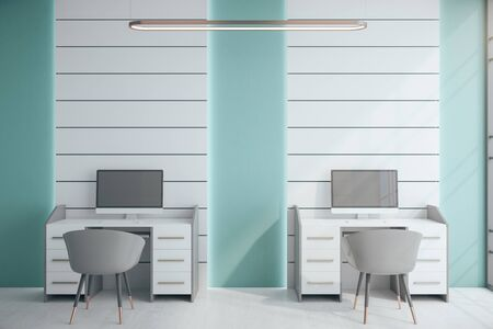 Modern coworking office interior with two computers.  Workplace and corporate concept. 3D Rendering