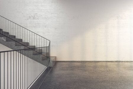 New concrete stairs in office building with copy space on wall. Performance and presentation concept. 3D Rendering