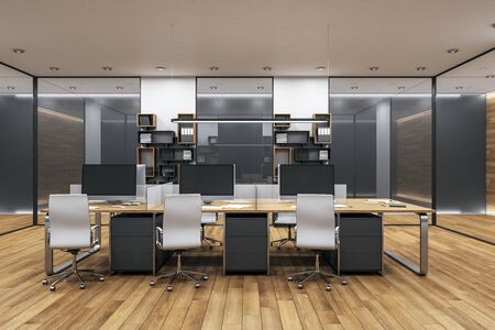 Minimalistic office interior with tables and computers standing on them. 3d rendering