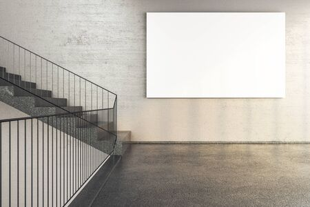 Office building interior with stairs and empty banner on wall. Performance and presentation concept. 3D Rendering