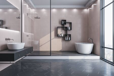 Contemporary bathroom interior with decorative objects and city viwe. Style and hygiene concept. 3D Rendering