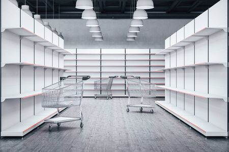 Empty shop shelves and shopping trolley cart. Business and retail concept. 3D Rendering 写真素材