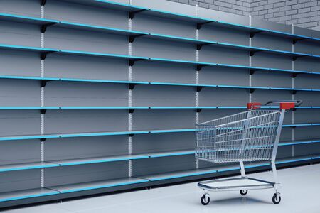 Empty metallic supermarket retail store shelves with shopping trolley cart. Business and retail concept. 3D Rendering