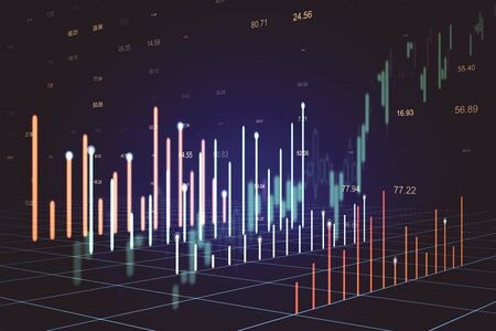 Stock chart on screen interface with index. Trade and finance concept. Double exposure. 3D Rendering